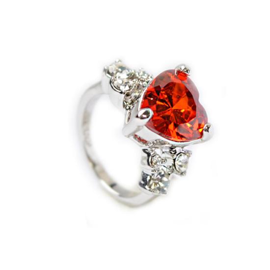 Swarovski kristályos piros szives  gyűrű-6