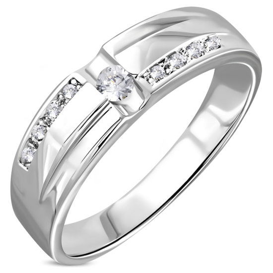Ezüst színű, karika gyűrű, cirkónia kristállya