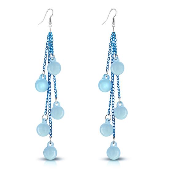 Divatos hosszú,kék színű, gömb alakú fülbevaló