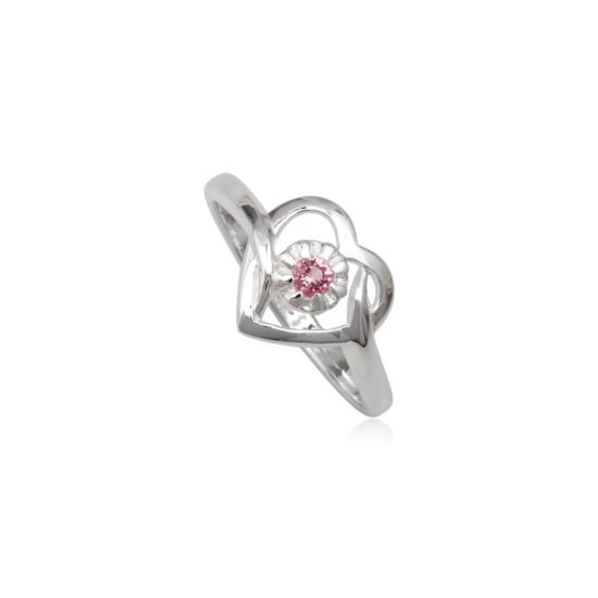 Szív alakú ezüst gyűrű pink cirkónia kristállyal-8