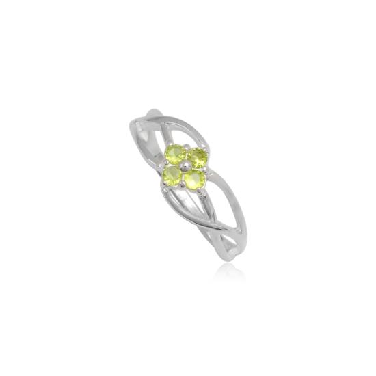 Ezüst gyűrű zöld cirkónia kristállyal