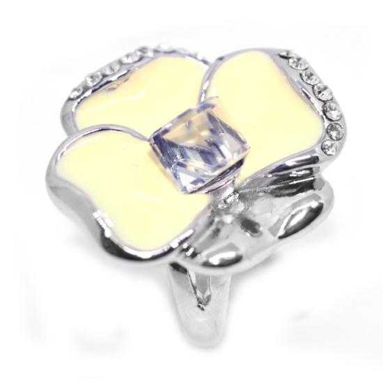 Fehér árvácska Swarovski kristályos gyűrű, ezüst színű