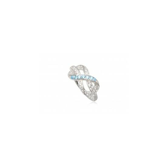 Ezüst gyűrű kék és fehér cirkónia kristállyal-7