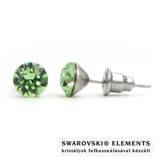 925 ezüst fülbevaló ékszer Swarovski® kristállyal - Peridot