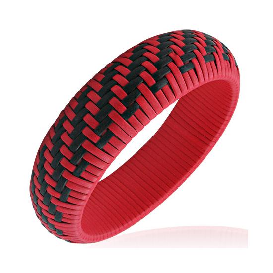 Piros - fekete színű, kosárfonat mintás karkötő