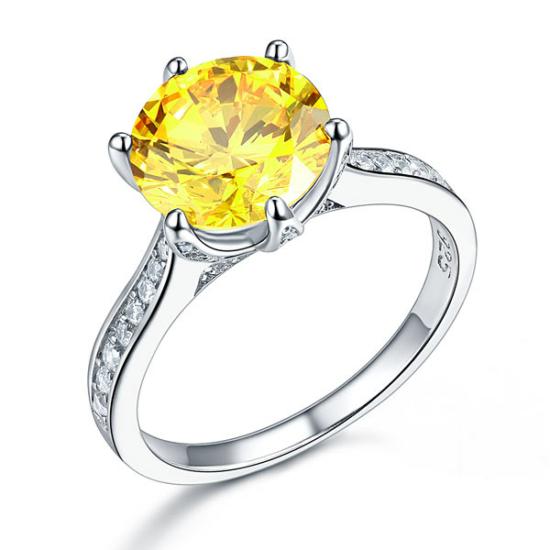 Ezüst gyűrű sárga szintetikus gyémánt kővel-7