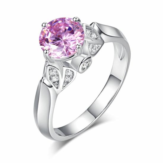 Ezüst gyűrű rózsaszín kővel-7