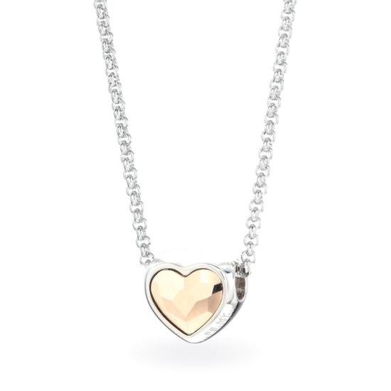 Swarovski® kristályos nemesacél nyaklánc - SW Heart Rose Gold