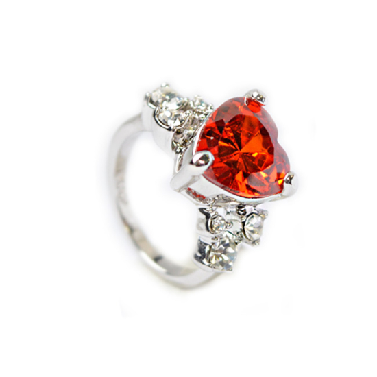 Swarovski kristályos piros szives gyűrű-8