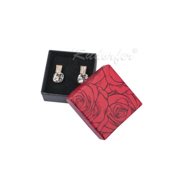 Piros és fekete színű ékszertartó doboz, rózsa mintával fülbevaló