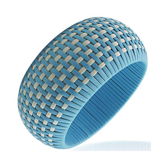 Kék színű, kosárfonat mintás karkötő