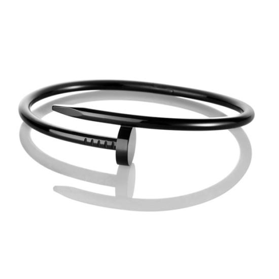 Hajlított szög karkötő - Fekete színű