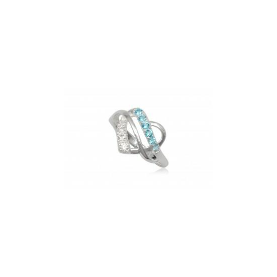 Szív alakú ezüst gyűrű világoskék cirkónia kristállyal-8